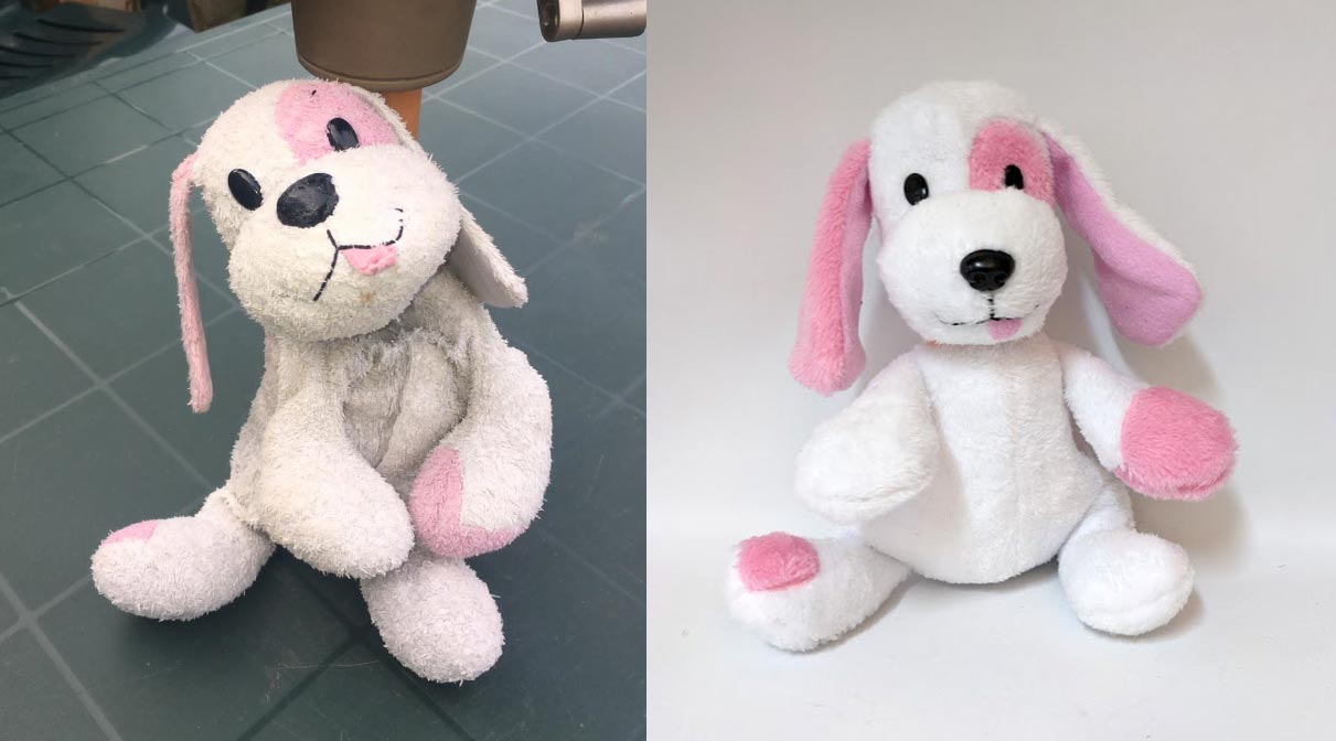 A pink and white dog, a lost toy replacement