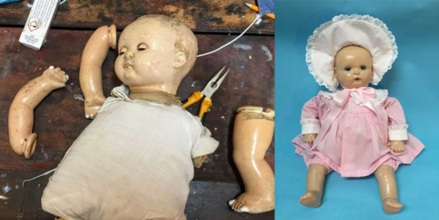 Composition Doll repair and doll clothing