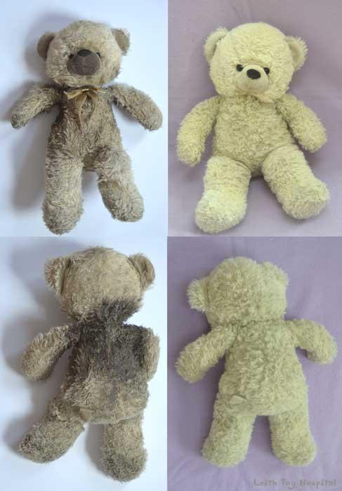 Teddy bear cleaning - a dirty ted on one side and a clean one on the other!